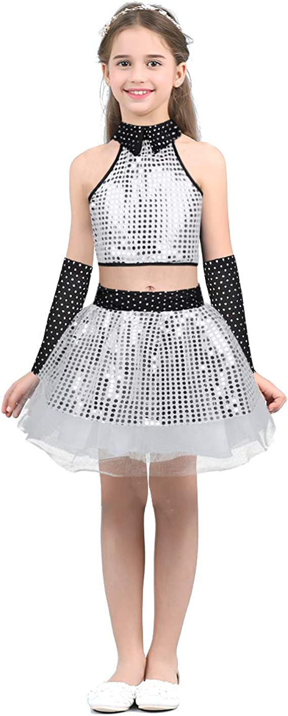 ranrann Girls Jazz Show Contemporary Dancewear Costume Sparkly Sequins Mesh Dress with Hairclip Set