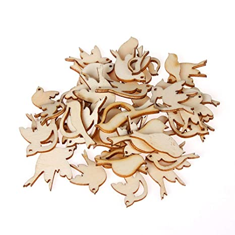 Simdoc 100pcs Laser Cut Wooden Flowers and Leaves Embellishment Wooden Shape Craft for DIY Wedding Christmas Decor