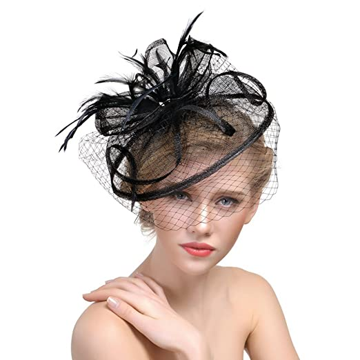 ba4b967514267 Womens Veil Net Mesh Formal Party Fascinators Hat Yarn Feather Wedding  Bride Headdress with Hair Clips for Cocktail Costume at Amazon Women s  Clothing store ...