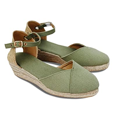 b6ab4063e2a72 Womens Espadrille Platform Sandals Closed Toe Buckled Ankle Strap Wedge  Sandals