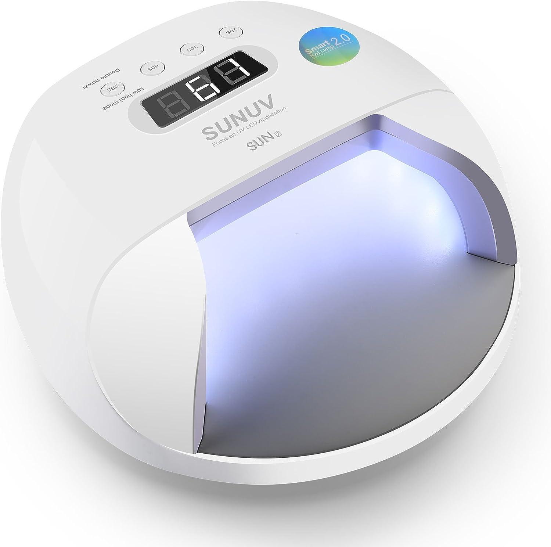 Lámpara Led Uñas SUNUV 48W UV Secador Smart 2.0 para Esmalte de Uñas de Gel Pro Salón Curado sin Dolor en Manicura/ Pedicura SUN7