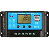 Anself 10A/20A 12V/24V LCD Solar Charge Controller with Current Display Function Auto Regulator for Solar Panel Battery Lamp Overload Protection