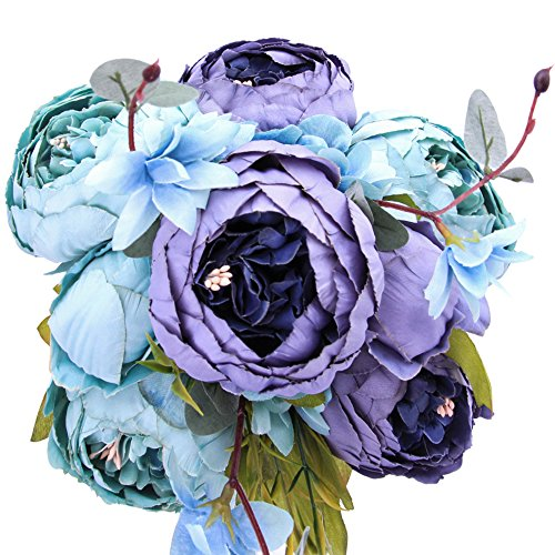 (StarLifey Fake Spring Flowers Vintage Artificial Peonies Bouquet Home Wedding Decoration Flowers Bunch Confession Bouquet (New Grey Blue))