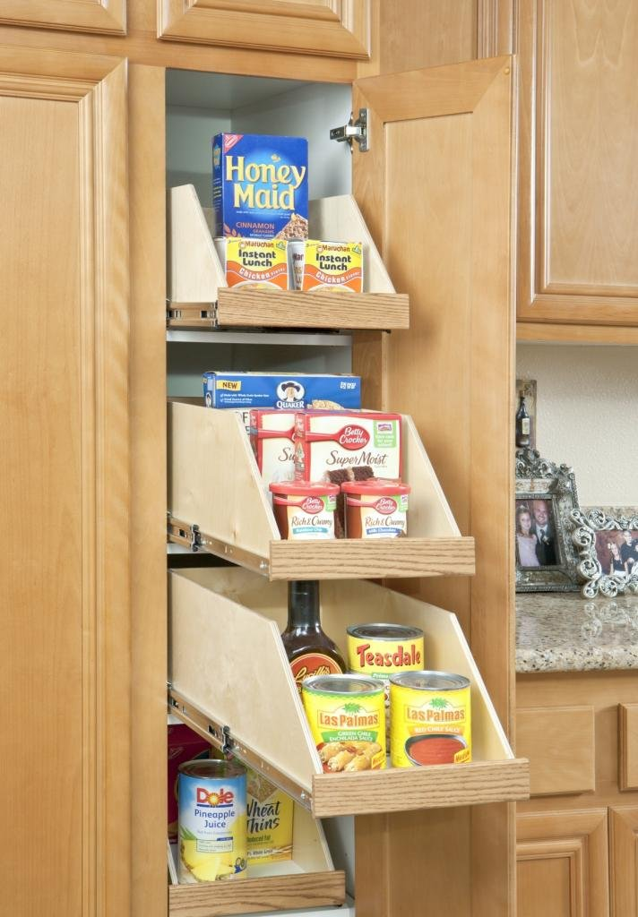 """Slide-A-Shelf SAS-SI-HS-B, Made-To-Fit High sides Slide-out, Full Extension, 8'' high, 6"""" to 30"""" wide, 16 3/4'' to 24'' deep, 8'' high, 6"""" to 30"""" wide, 16 3/4'' to 24'' deep, Poly-finished Birch Fronts by Slide-A-Shelf (Image #1)"""