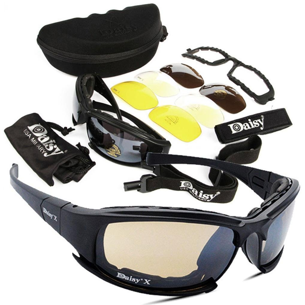 Kittoze Military Goggles 4 Lens Kit Polarized Army Sunglasses Men's Outdoor Sports War Game Tactical Glasses-1 PC Sunglass - Grey, Yellow, Transparent, Copper Color Lens