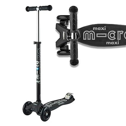 Micro Maxi Deluxe, Patinete 3 Ruedas, 5-12 Años, Carga Máx 70kg, Peso 2,5kg (Negro/Gris)