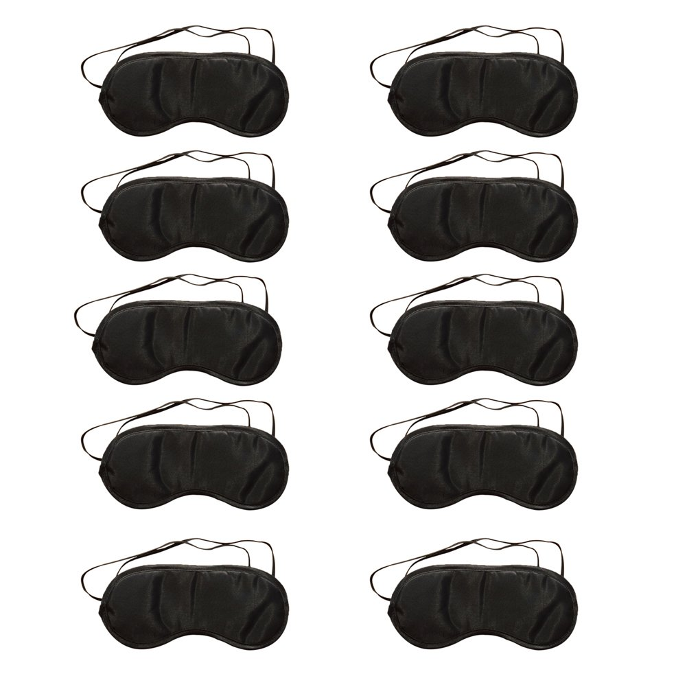Westeng Lot de 10 Masque pour les yeux Voyage sommeil reste Noir Masque de sommeil Respirant Sleeping Eye