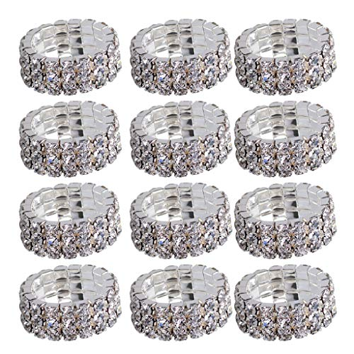 SM SunniMix 12pcs/Pack Crystals 3 Row Stretch Barefoot Toe Ring Adjustable Jewelry Gift - White