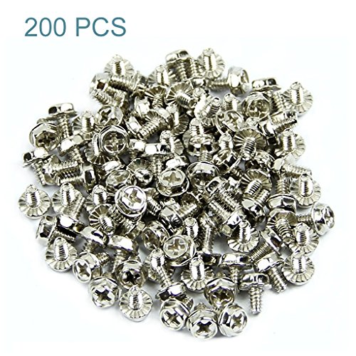 Maxmoral 200pcs Toothed Hex 6/32 SCREW 6 - 32 Computer PC Case Hard Drive Motherboard Mounting Screws.