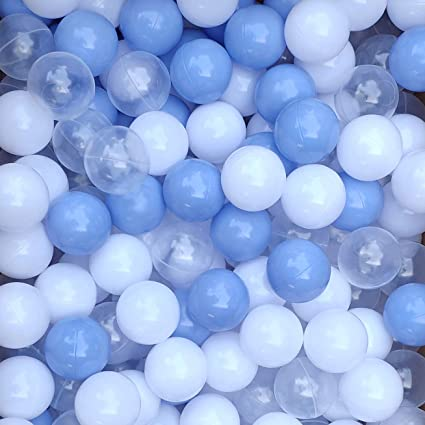 100 pcs 2.15 Inches Thicken Soft Plastic Crush Proof Ball Pit Balls BPA Phthalate Free Baby Toddler Toy Ball with 3 Color White Clear and Blue Thenese Pit Balls for Kids