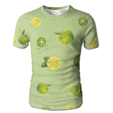 9d178139022b Amazon.com  PanDe Summer Fruit Apple Lemon Kiwi Stylish Design Mens Short  Sleeve T-ShirtCustom Printed Casual T-Shirt Summer Short Sleeve Round Neck  ...