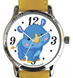 """Save Our Wildlife"" Large Polished Chrome Watch with Yellow Leather Strap has ""Rhino"" image and Donation to the African Wildlife Foundation"