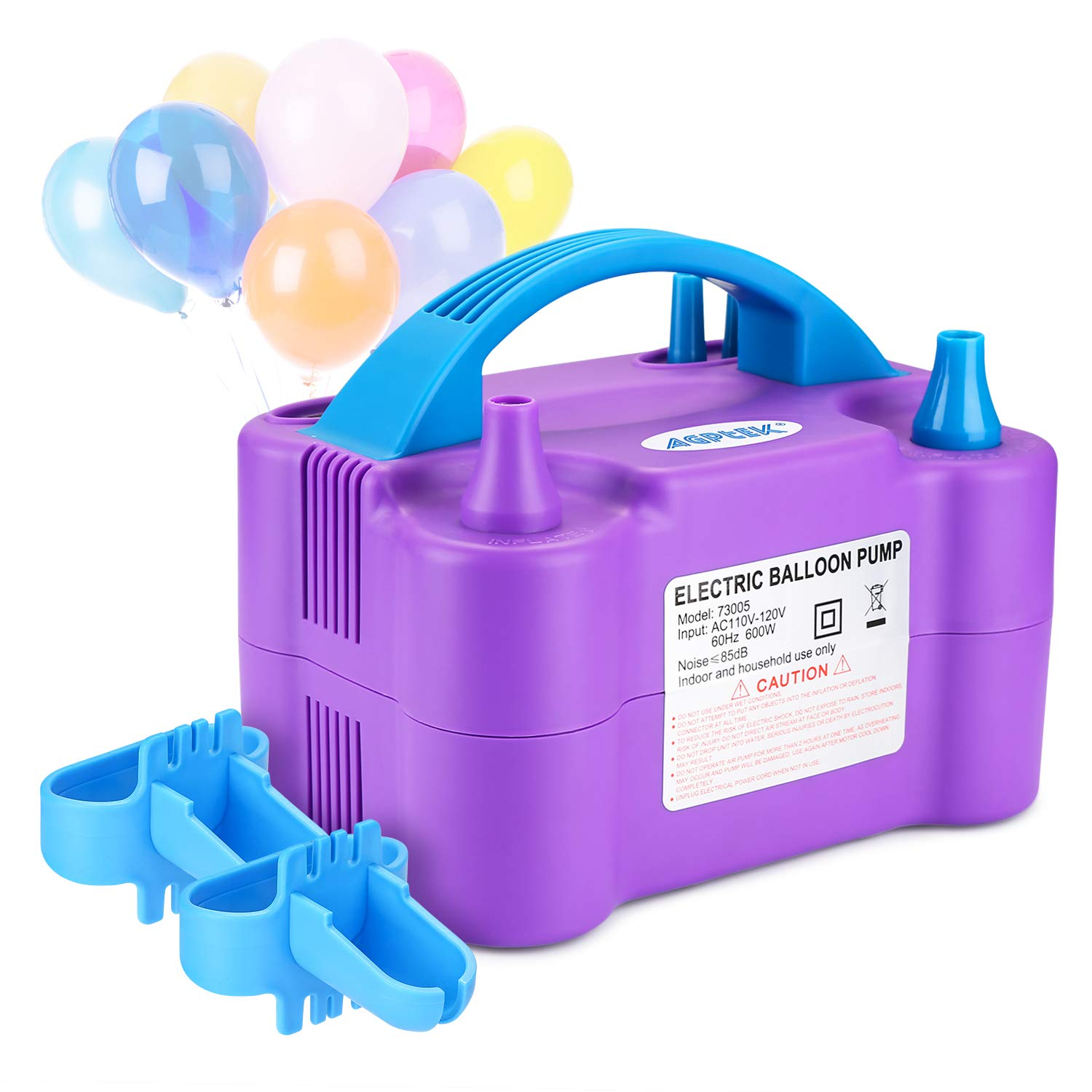 110V 600W Portable Dual Nozzle Inflator//Blower for Party Decoration AGPTEK Electric Air Balloon Pump