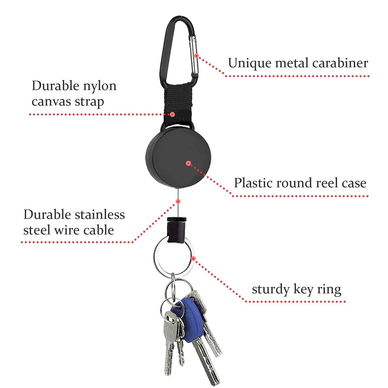 Tusenpy 4 pezzi portachiavi retrattili portatile portachiavi bobina badge key chain per ID portabiglietti con corda in acciaio da 64cm,nero