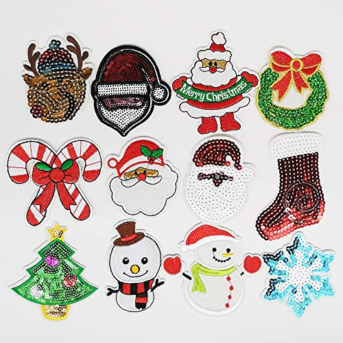 Dandan DIY Assorted 12pcs Christmas Tree Snowman Claus Snowflake Embroidered Patch Sew On/Iron On Patch Applique Clothes Dress Plant Hat Jeans Sewing Flowers Applique DIY Accessory (Christmast Lots)