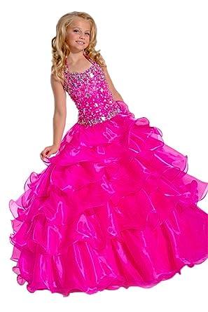 ba890b991b90e Amazon.com: Girls' Crystal Halter Beads Layered Ball Gown Ruffles ...