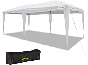 Goutime 10x20 ez Pop Up Canopy Instant Shelter Tents for Outdoor Christmas Party (White Without sidewalls)