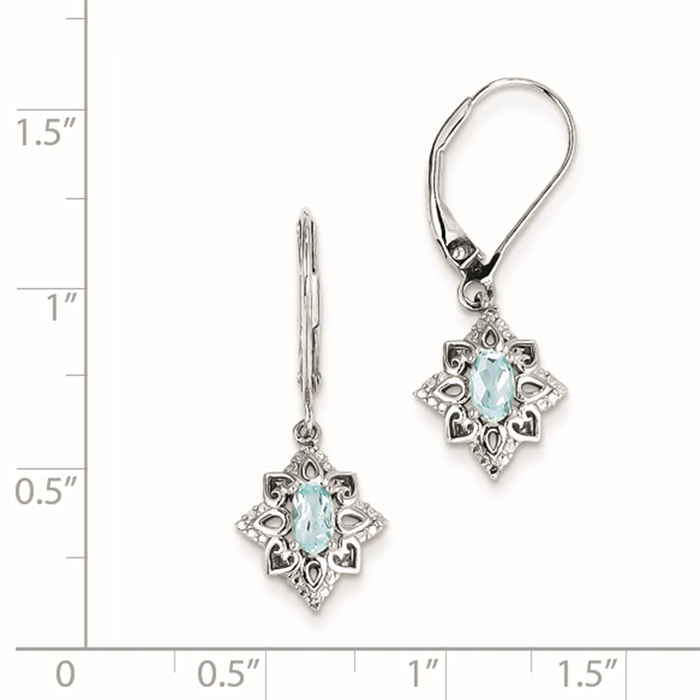 925 Sterling Silver Rhodium-plated Blue Topaz /& Diamond Dangle Earrings