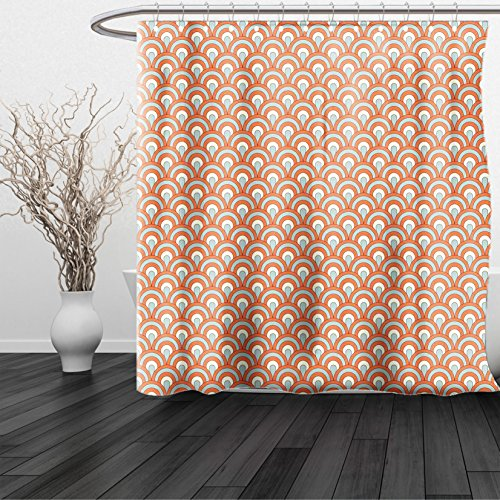 HAIXIA Shower Curtain Orange Curvy Ocean Waves Inspired Pattern Rounds Ovals Overlap Forms Queen Full Orange Light Blue Light Yellow - Monterey Valance