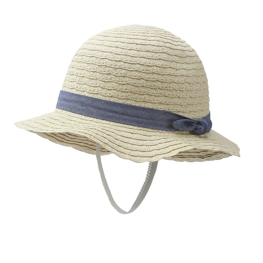 vivobiniya Kid Girl's Summer Sun Hats Toddler Girl Straw Hats can be Folded 0-6Y (50CM(Head Circumference 19.6in))