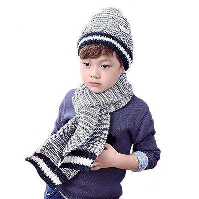 3a1931a85d9 Boys Warm Winter Scarf Hat Set Knitted Hat Cap 2Pcs