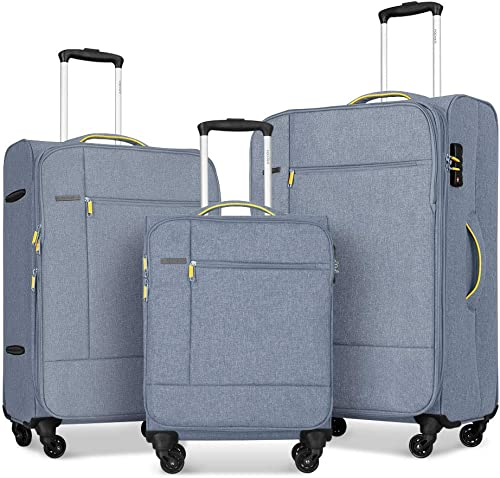 Fochier 3 Piece Luggage Set Softside Expandable Suitcase with Spinner Wheels TSA Lock,Light grey