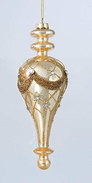 Shiny Gold Glittered Glass Decorative Finial Christmas Ornament