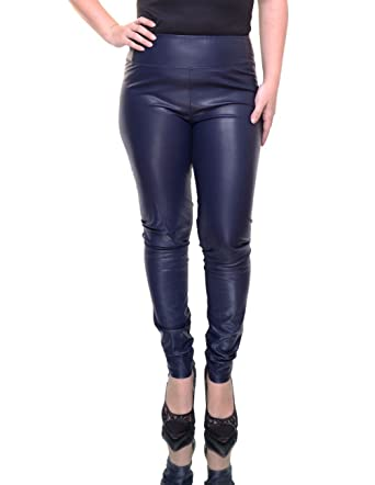 25ffbc331ec6d RALPH LAUREN Lauren Women's Alatea Faux Leather Leggings Pants, Navy Blue  at Amazon Women's Clothing store:
