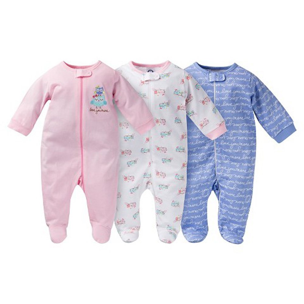 deea600ad7b1 Amazon.com   Gerber Onesies Baby Girl Sleep N  Play Sleepers 3 Pack ...