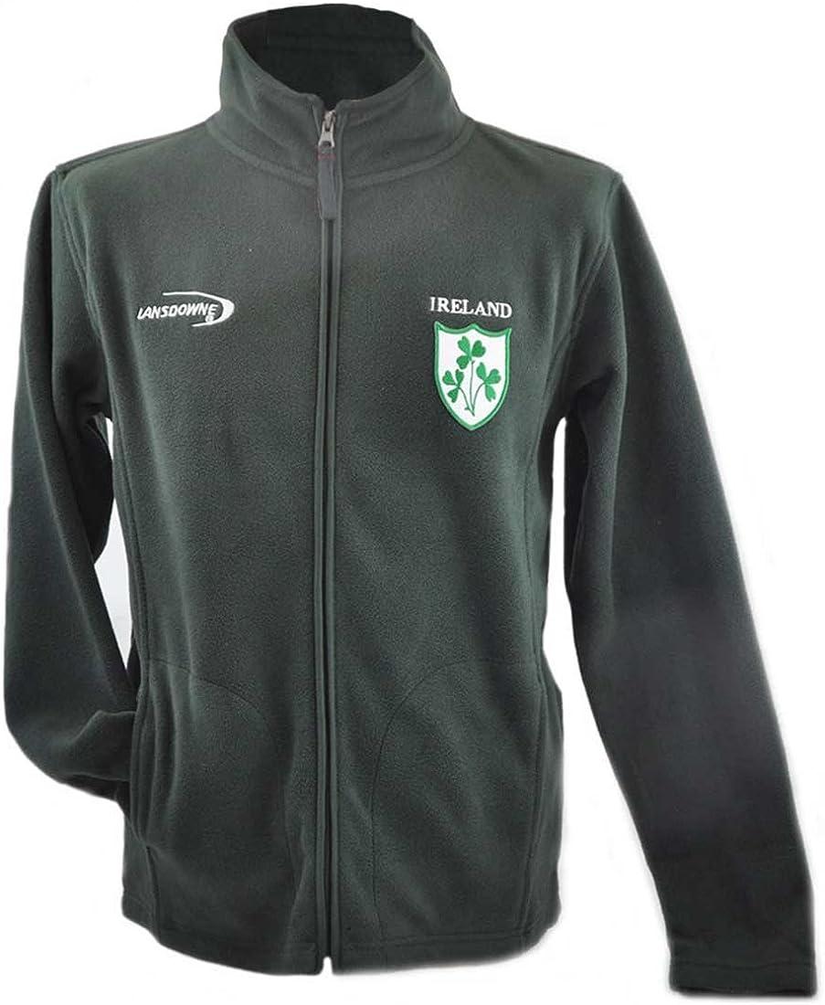 Flaschengr/ün Fleece mit Irland 3 Shamrock Wappen