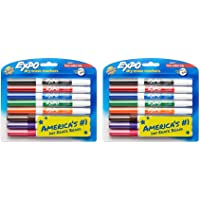 EXPO Low-Odor Dry Erase Markers, Fine Point, Assorted Colors, 8 Count (2 Pack)