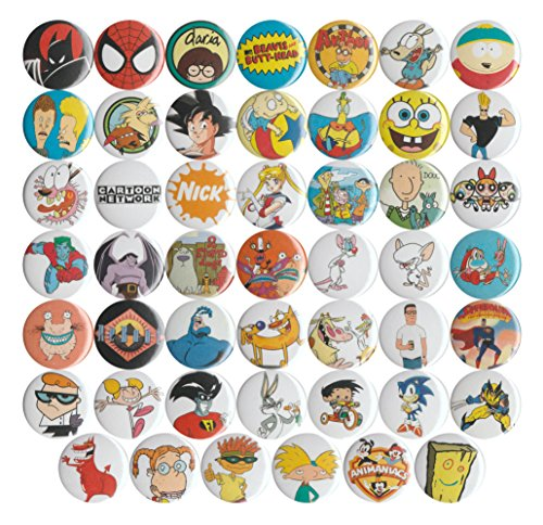 "Huge Wholesale Lot of 48 1990's Cartoons 1"" Pins/Buttons/Badges"