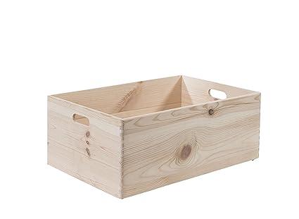 Compactor caja de madera de pino Natural e instrucciones para hacer personalizables, Beige