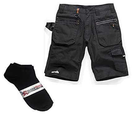 0927ecc5bd mad4tools - Scruffs Ripstop Men's Work Shorts with 3 Pairs of Trainer Socks  (28""