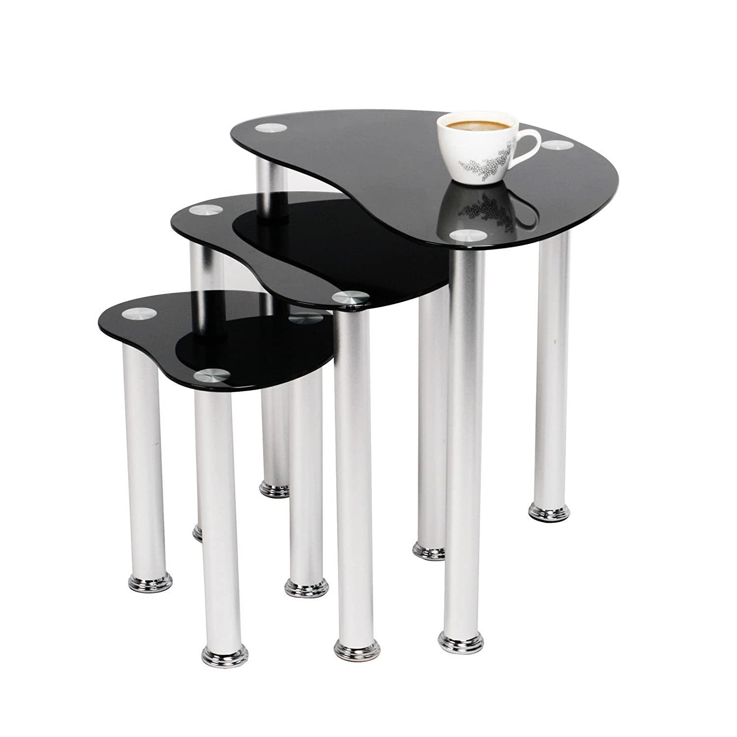 NEST OF 3 COFFEE TABLES SIDE END TABLE BLACK GLASS SET Amazon