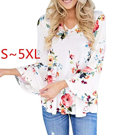 OrchidAmor Women Autumn Casual Floral Printing Long Flare Sleeve Tops T-Shirt Blouse at Amazon Womens Clothing store: