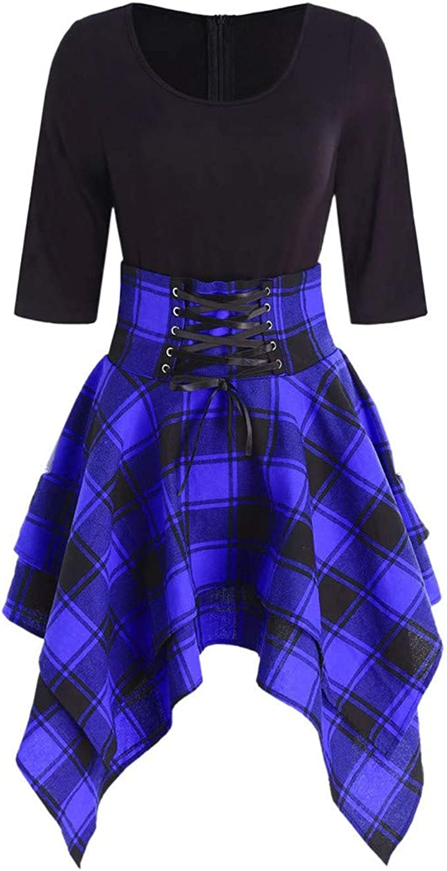 Linkay Kleid Damen Lässiger O-Neck Kurz Schnüren Sie Sich Tartan Rock  Sommer Plaid Print Asymmetrical Mini Kleider Mode 20