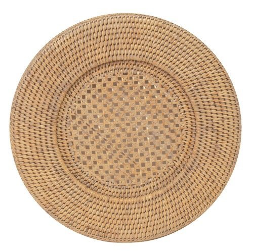 Entertaining with Caspari Rattan Dinner Plate Charger, Round, Natural White, 1-Count (Rattan Plate)