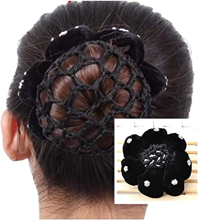 Jihuoo Noir Velours Filets A Chignon Avec Strass Bun Couverture Ballet Danse A Cheveux Filets Amazon Fr Cuisine Maison