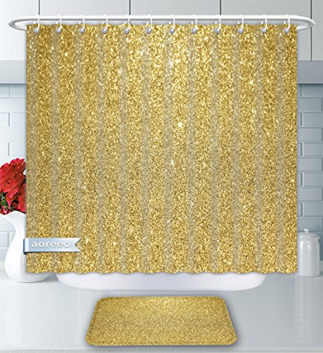 Aoreeo Bathroom Two-Piece Set Gold Glitter Background Shower Curtain Bath Rug Set, 60