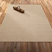 """Ottomanson Jardin Collection Natural Solid Design Indoor/Outdoor Jute Backing Synthetic Sisal Runner Rug, Cream, 2'7"""" x 7'0"""""""