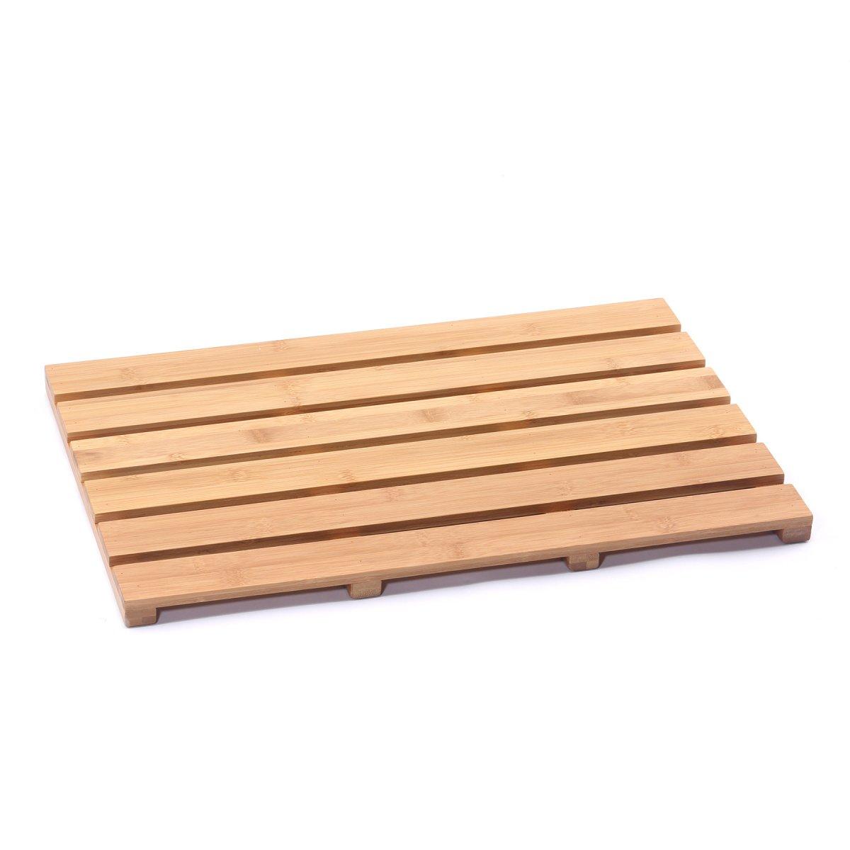 Musiclily Bamboo Bath Mat Skid-resistant Shower Floor Mat Bathroom Spa Non Slip Bathtub Mats Bathmat