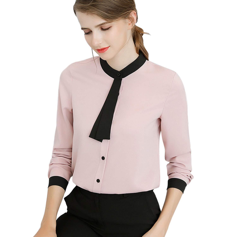 T T Store Spring Women Fashion Ladies Long Sleeve Shirts Casual Chiffon Blouse Work Wear Office Blusas(Light Pink,L)
