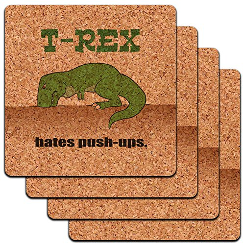 "Custom & Cool {4"" Inches} Set Pack of 4 Square ""Grip Texture"" Drink Cup Coaster Made of Cork w/ Cute Cartoon T-Rex Hates Push-Ups Design [Beige, Black & Green Colors]"
