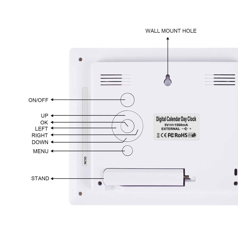 Thinp Marco Digital de Fotos Calendario Digital Reloj Despertador Reproductor Múltifuncional de MP3 MP4 AVI RMVB 8 Pulgadas 1024x768 HD LCD Pantalla Ancha: ...