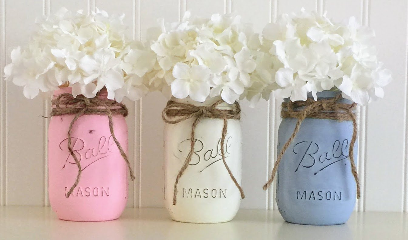 Amazon Com Mason Jar Set 3 Piece Pink White And Blue Baby Shower Centerpiece Handmade