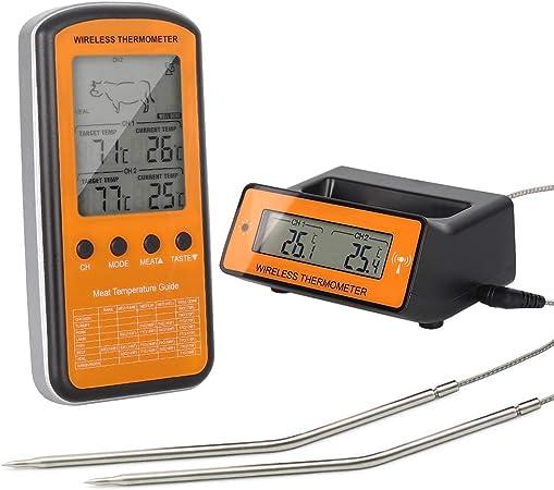 Thermomètre à Viande,Numérique Sans Fil Barbecue Cuisson