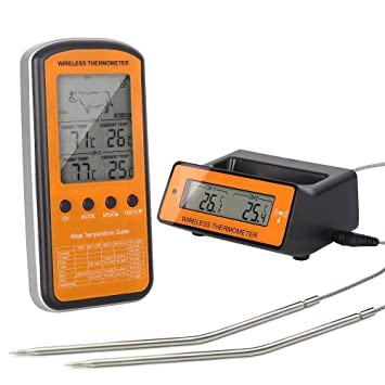 Termómetro de cocina,digital inalámbrico para barbacoa carne BBQ termómetro con sonda dual termómetro de