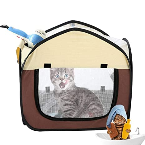 VERLOCO Caja De Secado De Mascotas, Jaula De Perro Gato Plegable ...
