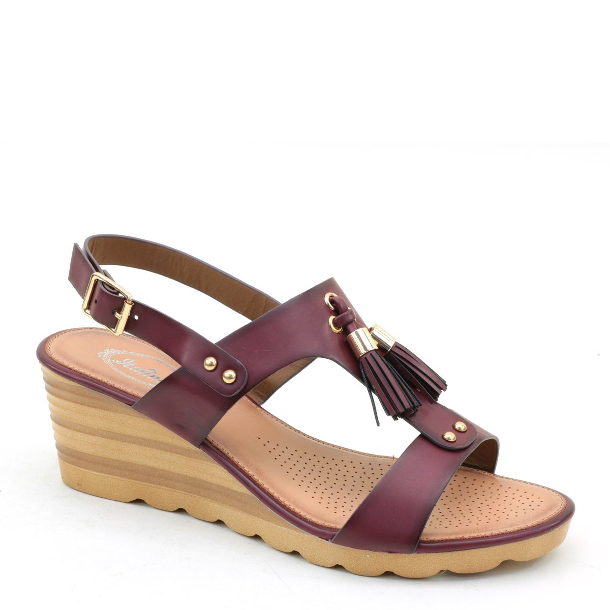 Brieten New Women's Tassels Wedge Comfort Sandals B07DK6MLPB 10 B(M) US|Burgundy